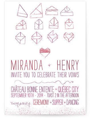 Origami Heart Wedding Invitations