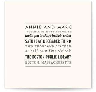 The Square Types Wedding Invitations