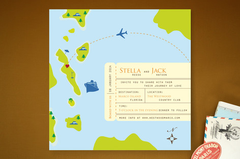 Board on Our Journey of Love Wedding Invitations