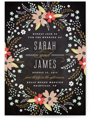 Chalkboard Floral Wedding Invitations
