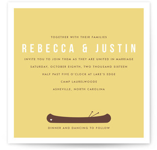 A Canoe For Two Wedding Invitations