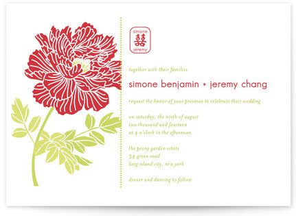 Red Peony Wedding Invitations