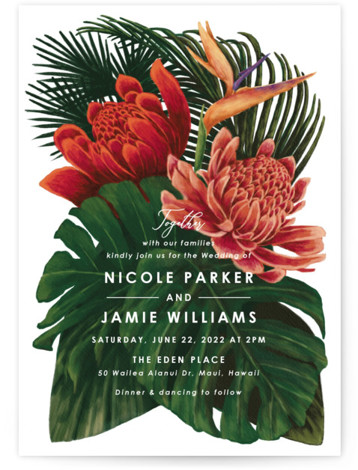 Tropical Bouquet Wedding Invitations