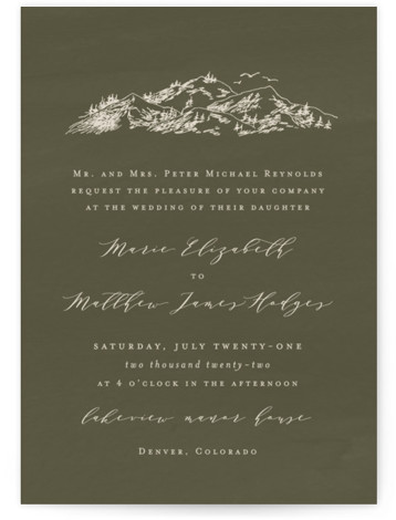 into the mountains Wedding Invitations