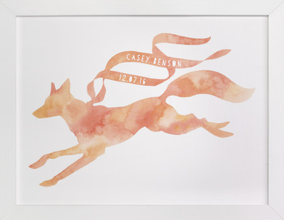 Red Fox Ribbon Children's Custom Art Print