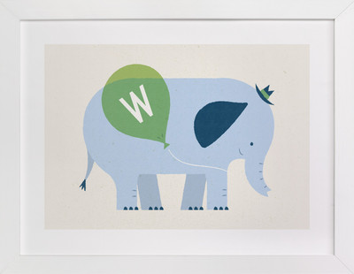 Mr Elephant's Balloon Children's Custom Art Print