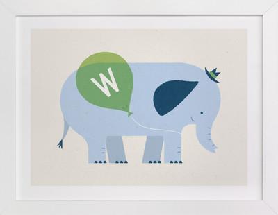 Mr Elephant's Balloon Children's Custom Art Print