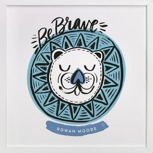 Be Brave Geo Lion Children's Custom Art Print