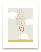 Numbers Elephant Children's Art Print