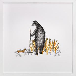 Bear and autumn leaves Children's Art Print