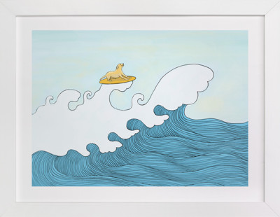 dog surfing Children's Art Print