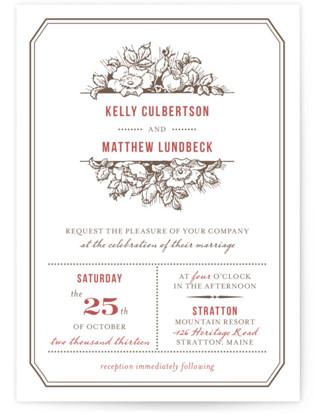 Harvest Floral Letterpress Wedding Invitations