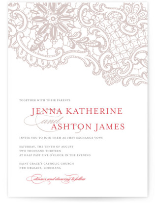 White Lace Letterpress Wedding Invitations