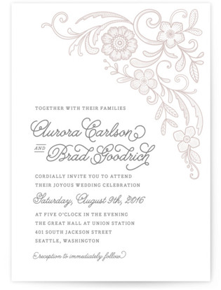 Floral Embroidery Letterpress Wedding Invitations