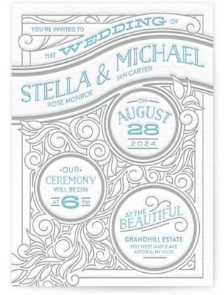 Antique Press Letterpress Wedding Invitations