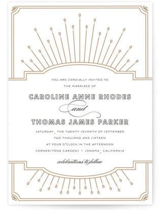 Modern Deco Letterpress Wedding Invitations