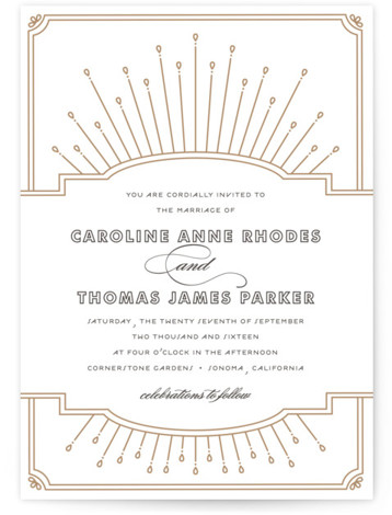 Modern Deco Letterpress Wedding Invitations