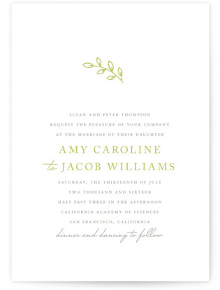 Leaves Letterpress Wedding Invitations