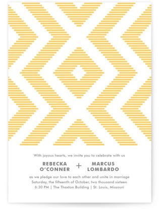 Modern Ikat Letterpress Wedding Invitations