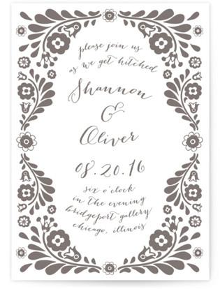 Folk Floral Garden Letterpress Wedding Invitations