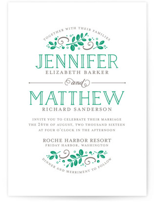 Botanical Letterpress Wedding Invitations