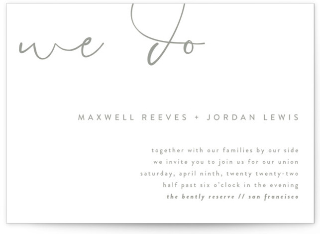 Minimalist Script Letterpress Wedding Invitations