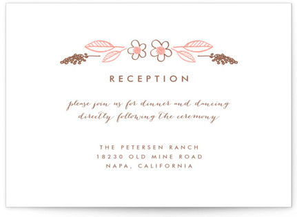 Botanical Wreath Letterpress Reception Cards
