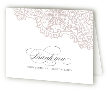 White Lace Letterpress Thank You Cards