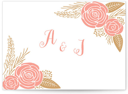 Floral Romance Letterpress Thank You Cards