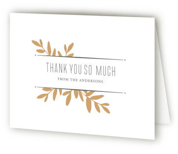Boxwood Sprigs Letterpress Thank You Cards