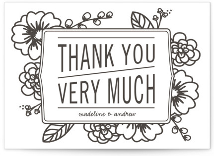 Modern Botanicals Letterpress Thank You Cards