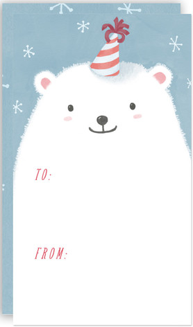 Polar Bear with Party Hat Self-Launch Mini Cards