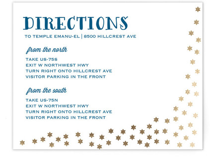 Starry Stars Foil-Pressed Mitzvah Directions Cards