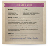 Wedding Vinyl Menu Cards