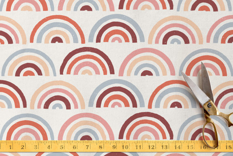 Stamped Rainbows Fabric