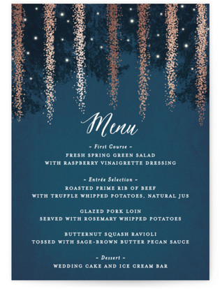 Strands Of Lights Foil-Pressed Menus