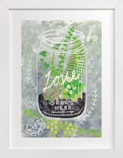 'Love Grows Here'  Art Print