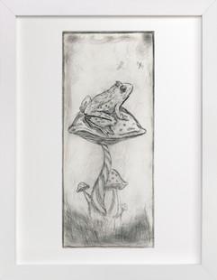 Toad on Mushroom Monoprint  Art Print