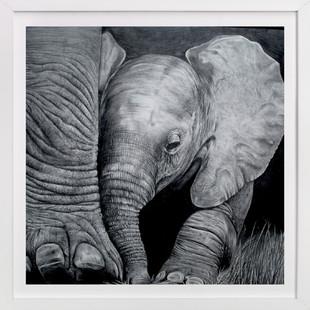 Mommy's Baby Elephant  Art Print