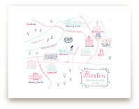 Boston, Massachusetts Calligraphy Map