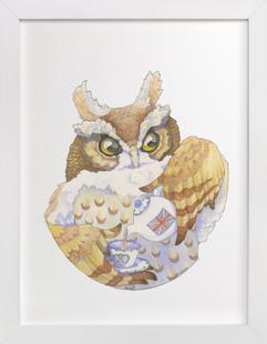 Mr. Owl's English Tea  Art Print
