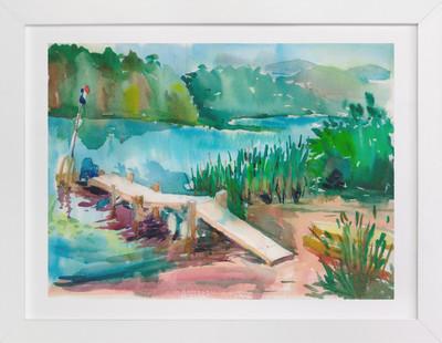 aqua river  Art Print