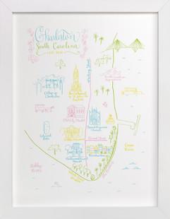 Charleston, South Carolina Map  Art Print