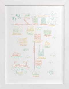 Savannah, Georgia Calligraphy Map  Art Print