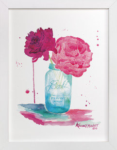 Peonies and a Mason Jar  Art Print