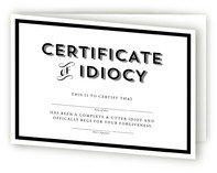 Certificate of Idiocy A... by Stacey Hill
