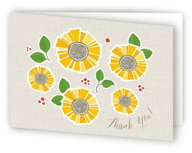 Sunflower Thank You Self-Launch Greeting Cards