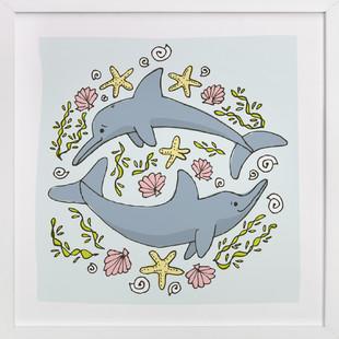 Happy Dolphins Self-Launch Children's Art Print