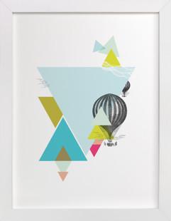 Hot-Air Balloon Geo Self-Launch Children's Art Print
