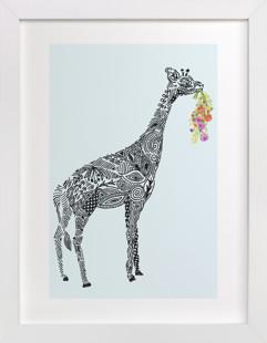 Designer Giraffe with flowers Self-Launch Children's Art Print